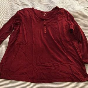 Woman Within - Long Sleeve - Henley - Red - L